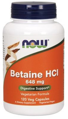 NOW, Betaine HCL, 120 kapsułek